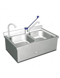 lave-mains mural avec 2 cuves. 2 robinets. 1 commande à genou