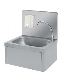 lave-mains mural avec commande à genou et distributeur de savon